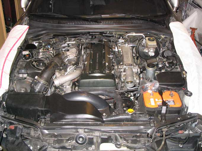 mkiv supra na >tt swap installed cat catback radiator other engine bay stuff